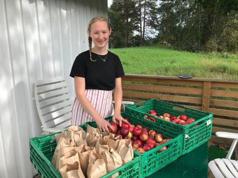 EPLER: Marte Olsen har hamstret inn lokale epler fra hagen til naboen.