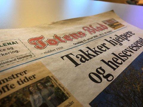 LANSERER ABO-LØSNING: Lokalavisa Totens Blad har lansert abonnementsløsning på nettet og satser digitalt framover.