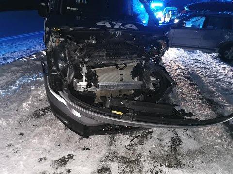KOLLIDERTE: Slik så bilen til Anita Menkerud ut etter sammenstøtet søndag ettermiddag.