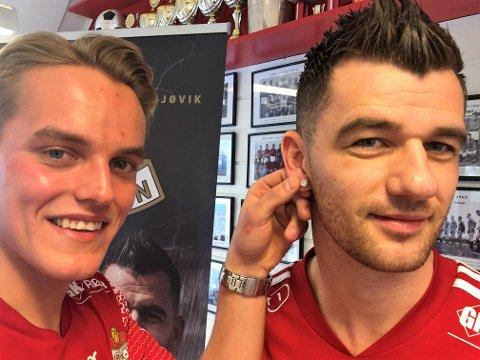 NYSIGNERT: Rocky Lekaj (t.h) har lyst til å skinne i 2021, og tror Andreas Østerud vil bli en fin makker framme i SK Gjøvik-Lyns angrep.