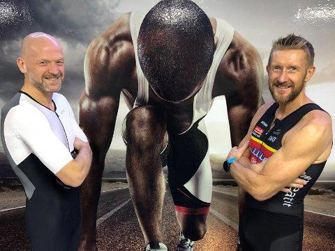 Tom Gullberg (t.v) og Ove Kåseth, henholdsvis 53 og 56 år, trener stort sett to økter om dagen og like mye som toppidrettsutøvere for å konkurrere i triatlon.