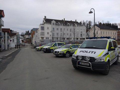 STORT OPPBUD: Minst fem politipatruljer ble tilkalt fra store  deler av Innlandet for å bistå med utspørring av naboer etter drapet.