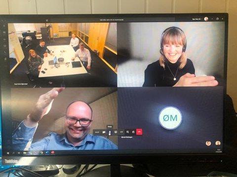 DIGITAL SIGNERING: Representanter fra prosjektteamene, Øyvind Moshagen, Kåre Nordsjø, Anette Aanesland, Erik Frogner og Ivar Galaaen deltok på den digitale signeringen.