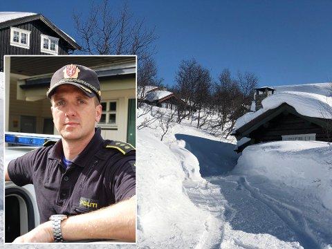 SKAL PATRULJERE: Lensmann i Valdres Kristoffer Magnus Tessem sier at politiet vil fortsette å patruljere hytteområder i Valdres for  å hindre ulovlig hyttebruk og å forebygge kriminalitet.