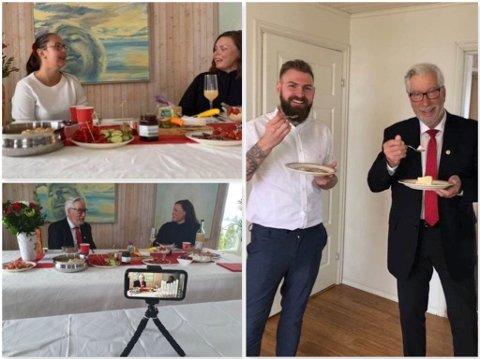EN ANNERLEDES DAG: Vestre Totens ordfører Stian Olafsen og hans samboer Lene Myhrvold var med på partilagets tradisjonelle, men denne gang digitale 1. mai-frokost. Varaordfører Tonje Bergum Jahr og Sigbjørn Johnsen var med i sendingen.