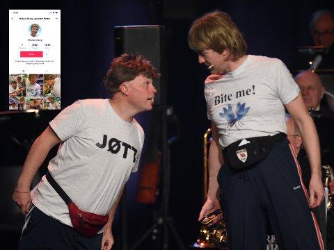 NY PLATTEFORM: Kompisene Håkon Skaug (Paul Håvard Østby) og fetter Petter (Jonas Rønning) har kommet seg på Tik Tok og gjør det skarpt med sine korte ordspill-snutter.