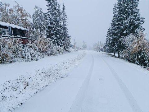 SNØ: Slik ser det ut ved Spåtind Fjellstue lørdag.