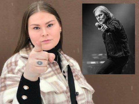 SOM FAR SÅ DATTER: Pekefingeren har alltid vært Jørn Landes varemerke på scena, og datteren Oda Lande viser at eplet ikke har falt langt fra stammen!