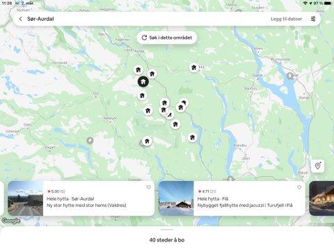 40 MULIGHETER: Gårdshuset i Sør-Aurdal er ett av 40  utleieobjekt på airbnb. SKJERMDUMP AIRBNB