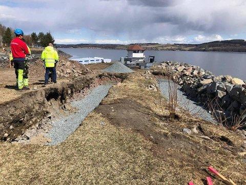 ARBEIDET I GANG: Slik ser det nå ut i Fredevika, hvor man etablerer Gjøviks bybadstue.