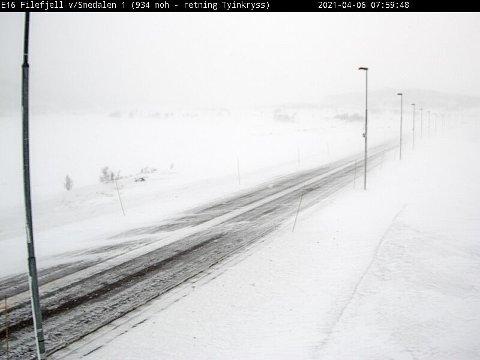 FÅ ÅPNE: Det er fortsatt mange stengte fjelloverganger. Men her over Filefjell er det mulig å kjøre. Bilde fra E16 på Filefjell fra Statens vegvesen.