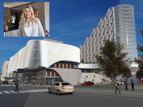 BEGEISTRET: Hotelldirektør Karoline Hammer-Larsen ved Quality Hotel Strand Gjøvik, jubler over det seneste forslaget til Kai Mikaelsen om nytt kulturhus i forbindelse med Strandhotellet.