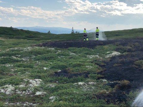 KONTROLL: 20 mann var i arbeid for å slukke brannen i terrenget på Aurdalsåsen tirsdag ettermiddag og kveld.
