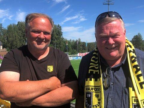 ROLLEBYTTE: Bent Dalby (t.v) blir administrerende leder for økonomi, drift og anlegg, mens nåværende styreleder Asgeir Sveen blir daglig leder i Raufoss Fotball.