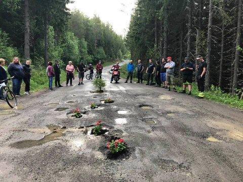 PLANTET BLOMSTER: Beboerne i den lille bygda valgte å bruke litt humor for å markere sin misnøye med den dårlige fylkesveien.