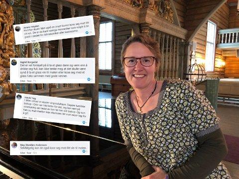 DRIKKER ALKOHOL: Sokneprest i Biri og Snertingdal, Hanne Moesgaard Skjesol, er glad i et glass vin til god middag. Men hun vil aldri være full.