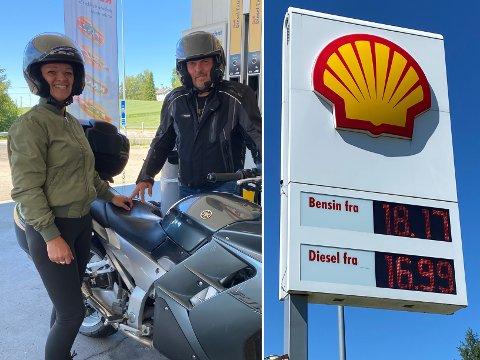 KJEMPE DYRT: Bogumila og Leszek synes prisen på drivstoff var i overkant høy lørdag, men fylle må man uansett.