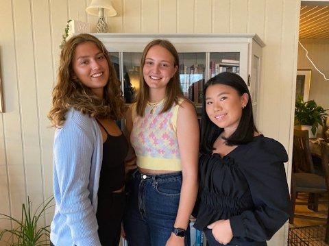 TJENESTEKVINNER: Lina Hoff (19), Tuva Ludvigsen (18) og Mina Dalby Vesterås (18) skal i førstegangstjenesten neste år.