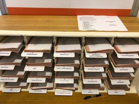 SLIK SER DET UT: Når du kommer inn i stemmeavlukket vil du finne stemmesedler for alle partier.