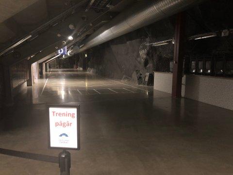 NEI: Det blir ikke løpebane her i  Vrimle-området inne i Fjellhallen.