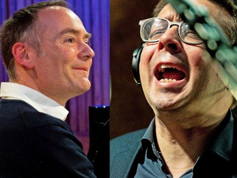 MUNTERT: Pianist Gunnar Flagstad (t.v.) danner sammen med sanger Frank Havrøy duoen FrankåGunnar, som i disse dager er ute med debutalbumet  «Schwanengesang».