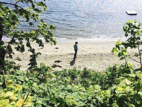 Tur i stillhet: Else Nygaard har tatt bildet av en strand i Drøbak. Det ser ut som om gutten koser seg ved vannkanten?