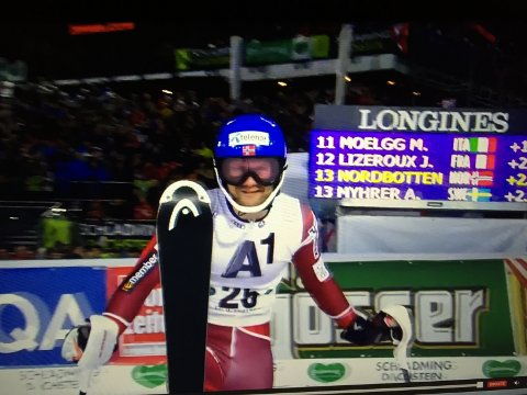Jonathan Nordbotten etter førsteomgangen i Schladming.