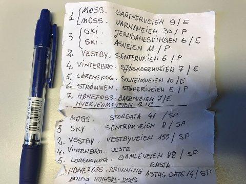LISTE: Her er deler av listen som ble funnet på de rumenske tyvene.