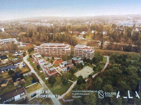 81 BOLIGER: Storebukta boligutvikling AS foreslår 65 blokkleiligheter og 16 rekkehus i trekanten mellom Theodor Hansens vei og Solbråtanveien, ned mot Storebukta i Kolbotnvannet.