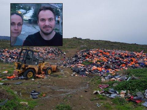 Birgitte Fredriksen og Per Otto Østenstad (innfelt) deltar i rednignsarbeidet på Lesvos i Hellas.