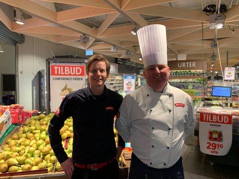 Butikksjef Henning Nilsen (37) og ferskvaresjef  Kåre Rappen (49) er fornøyd med å være regionsvinner, men målet er årets butikk.
