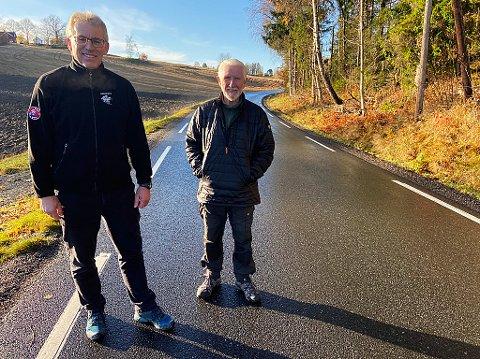 FARTSFEST: Per Fredrik Saxebøl og Erik Nybro er skjønt enige om at farten på ned på denne veien. FOTO: Ole Jonny Johansen