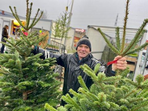 BEGYNNER Å GÅ TOM: Juletreselger Knut Sørli fra Eggen Gartneri tror han blir rekordtidlig utsolgt for juletrær i år.