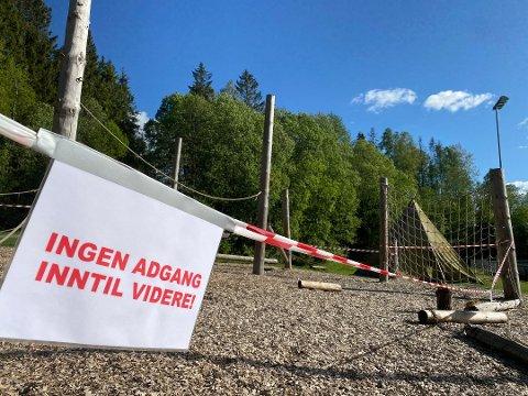 AVSTENGT: Klatreparken på Østre Greverud, er midlertidig stengt.