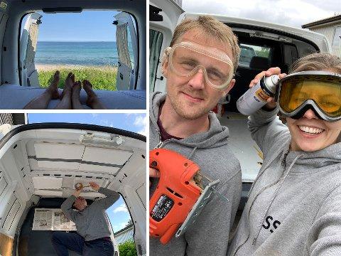 BYGDE BOBIL: Sine Skiaker fra Nittedal og Andreas Ramsland kjøpte en liten varebil og bygde den om til en liten bobil: – Man finner så mange fine steder uansett landskap, forteller Sine.