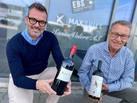 VIN I SKI: I fire år har vinimportør-gründer Trond-Erling Pettersen (t.h.) og daglig leder Arnt Roar Strøm drevet vinimportfirmaet Sansa Valore med base i Glynitveien på Drømtorp i Ski.