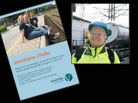REAGERER: Britt-Johanne  Wang i Bane NOR reagerer på at Ås Venstre har tatt biler på perrongkanten på Ås stasjon.