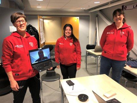 NYE ÅR: Laile Horgen (t.v.) tar to nye år som styreleder i Follo HK. Med seg på bildet fra mandagens årsmøte har hun: Stein Kåre Tytingvåg (på PC), Cathrine Schierning og Monica Schei