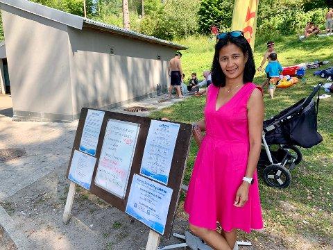 BEKYMRET: Presidenten i NLS, Claire Ann Alfonso, sukker over at Oslo kommune ikke har satt av midler til å bemanne Ingierstrand med livreddere.