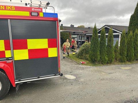 BRANN: Det brant i et boligbygg på Vinterbro mandag ettermiddag.