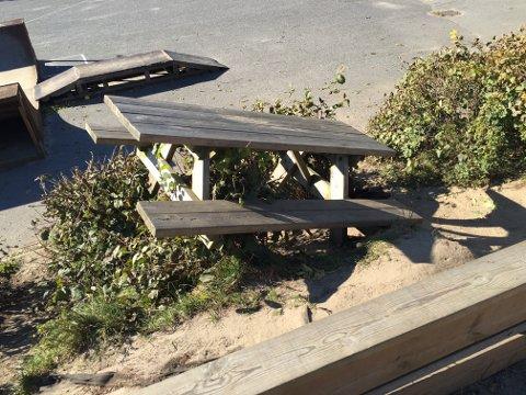 """Moro? Noen har hatt det """"gøy"""" med å kaste skolen benker ned en skråning i et blomsterbed."""
