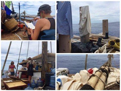 Seiling og forskning: Mannskapet på de to flåtene i Kon-Tiki2-ekspedisjonen bruker stille dager til å gjennomføre vitenskapelige undersøkelser. Foto: Kon-Tiki2.com