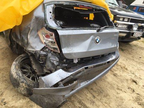 Totalvrak: Slik så bilen til Joachim Lian (22) ut etter at han hadde «solgt» bilen sin til en duo i Larvik. Han satt igjen med svarteper da bedrageriet kom for en dag.