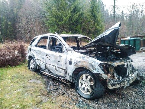 UTBRENT: Bilen ble helt utbrent.
