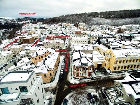 NY STASJON HER?: Så langt ØP kan forstå vil ny jernbane, dersom sentrumsalternativet velges, komme gjennom dette området med stasjon ved Johan Sverdrups gate. Foto: Geir Eriksen (dronefoto)/Terje Svendsen (grafikk)