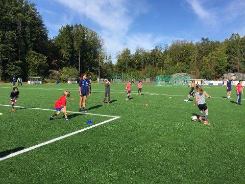 ENGASJEMENT: En egen fotballdag for jenter så ut til å engasjere mange. Noen prøvde fotball for første gang, mens andre var mer erfarne.