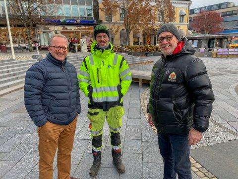 TRE SOM TRENGER TRÆR: Arne Nicander fra kommunalteknikk, arborist Lars Ottar Halvorsen og varaordfører Rune Høiseth trenger juletrær, og ber om tips.