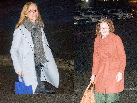 TIDLIG PÅ'N: Birgitte Gulla Løken og Elin Nyland ankom Sliperiet én time før kommunestyremøtet. Trolig må de ha en prat om barnehagesaken før møtet starter.