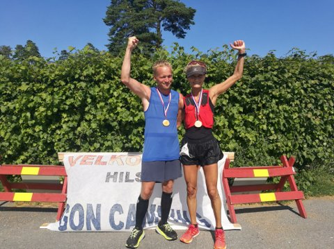 VINNERNE: Margrethe Løvgavlen fra Tønsberg og Martin Stensli Iversen vant årets utgave av ultraløpet Kyststien Trail. De brukte i snitt 5 minutter og 45 sekunder på kilometeren i til dels krevende kystterreng.