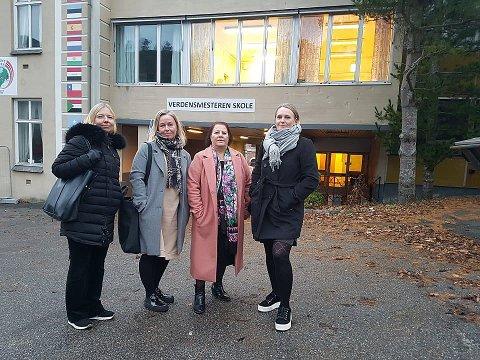 OMKAMP: Det er ikke mange år siden de var truet av nedleggelse. Nå tar lærerne kampen igjen. Fra venstre Vibeke Borg, Trine Helene Gulvik, Hiam Al-Chirout og Siri Løkka.